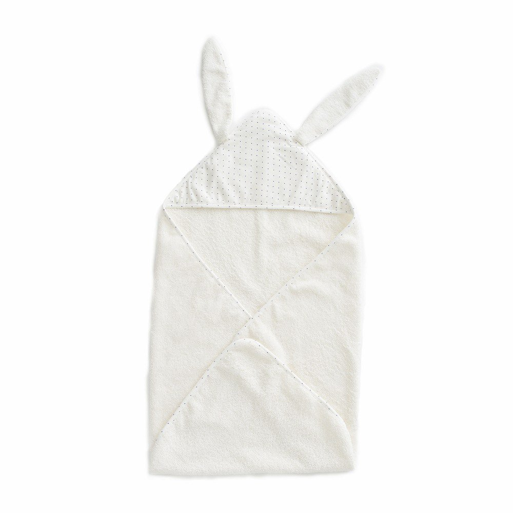 【SALE 30%OFF】Baby Hooded Towel White/Indigo Dots img1