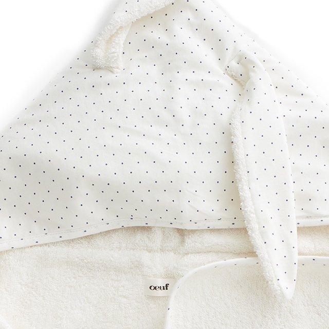【SALE 30%OFF】Toddler Hooded Towel White/Indigo Dots img1