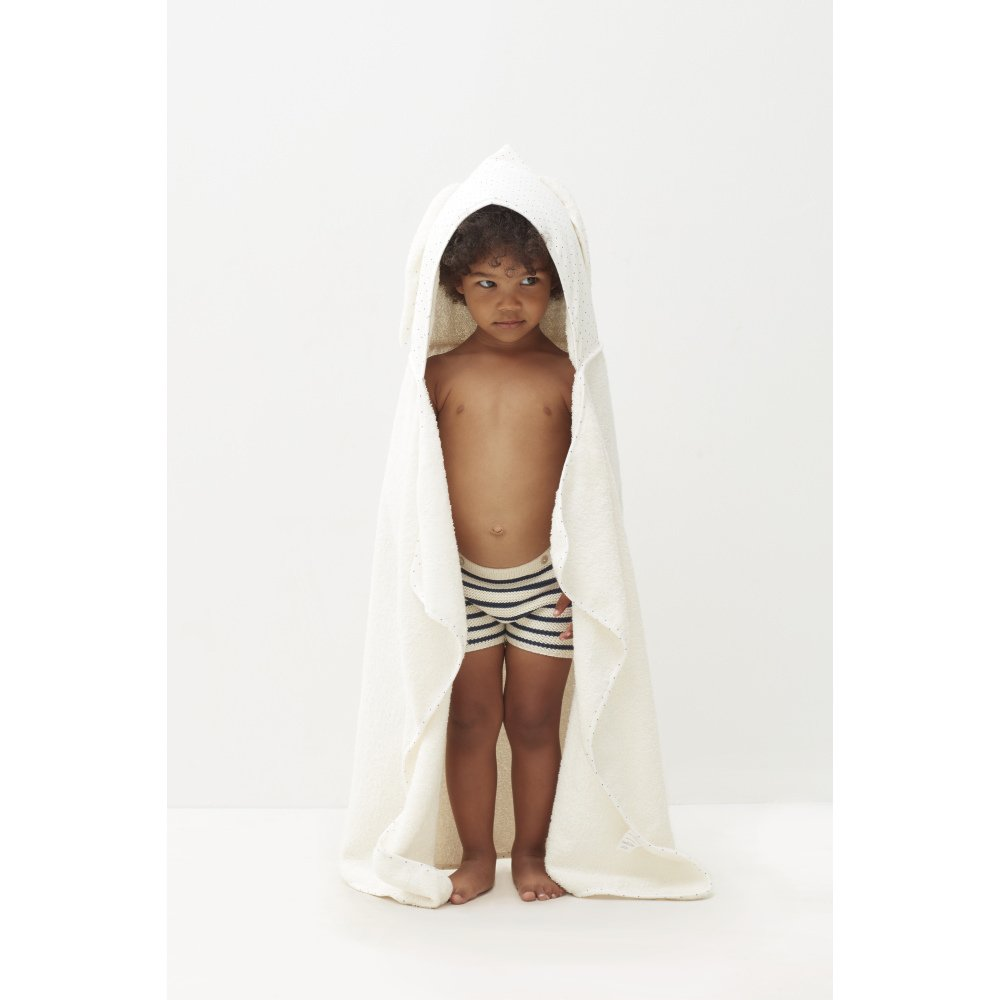 【SALE 30%OFF】Toddler Hooded Towel White/Indigo Dots img3