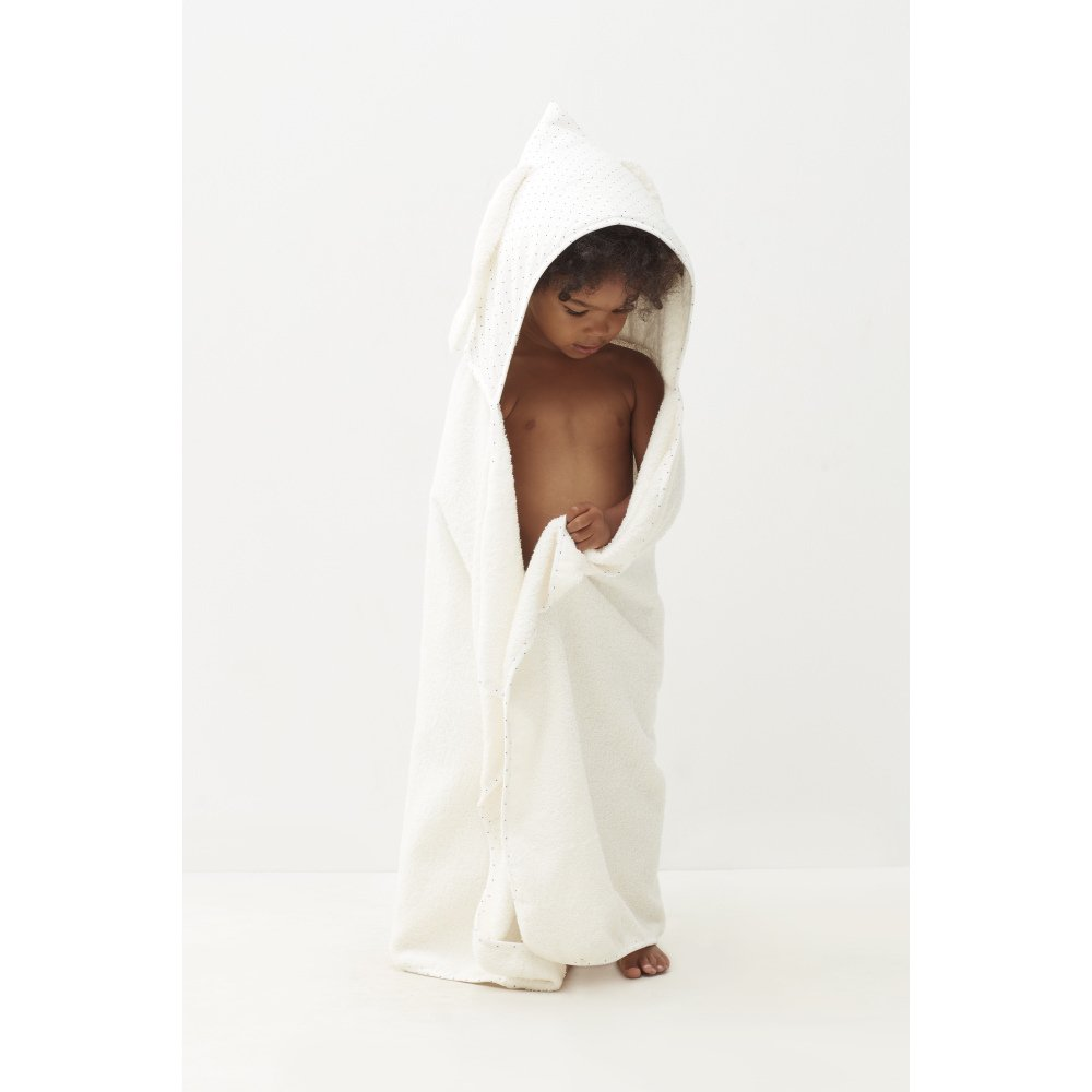 【SALE 30%OFF】Toddler Hooded Towel White/Indigo Dots img4