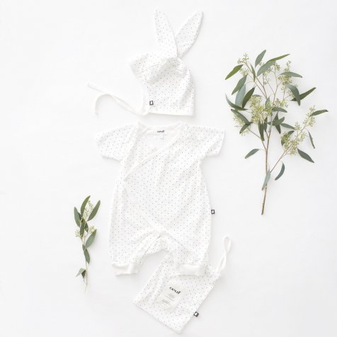 Baby Bunny Set White/Indigo Dots