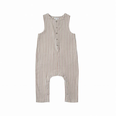 cocoa stripe button jumsuit pebble/ivory