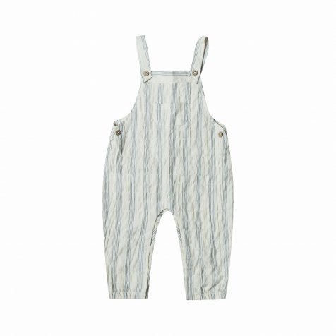 stripe baby overall ivory/storm blue