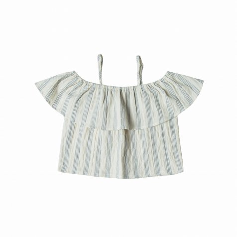 【SALE 30%OFF】stripe off-the-shoulder top ivory/stormy blue