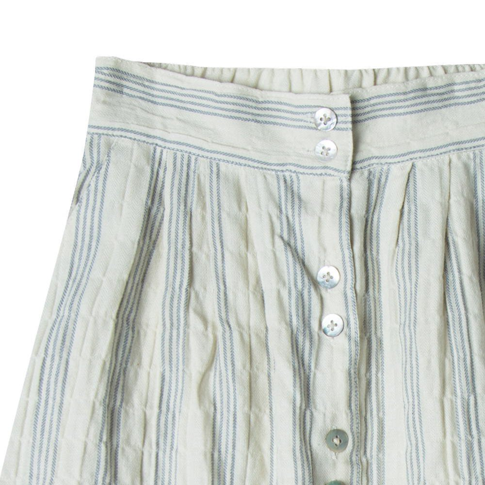 【WINTER SALE 40%OFF】stripe button front midi skirt ivory/stormy blue img1
