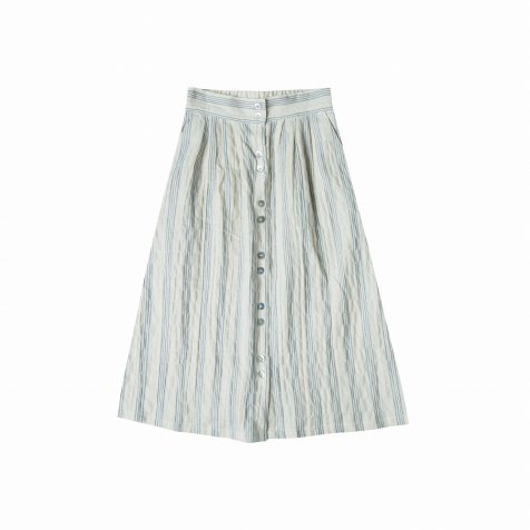 【50%OFF】stripe button front midi skirt ivory/stormy blue