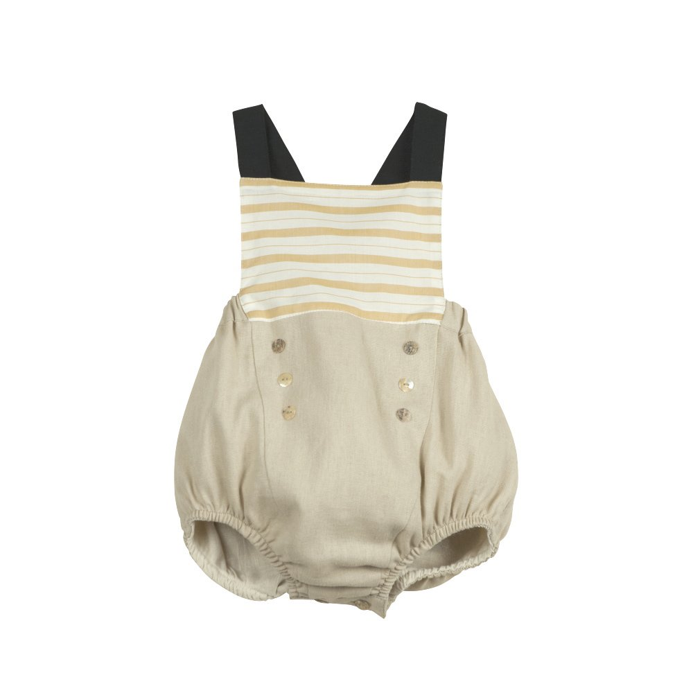 【SALE 30%OFF】Ochre stripe sailor-style dungarees img