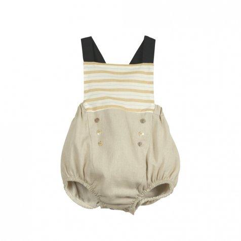 【SALE 30%OFF】Ochre stripe sailor-style dungarees