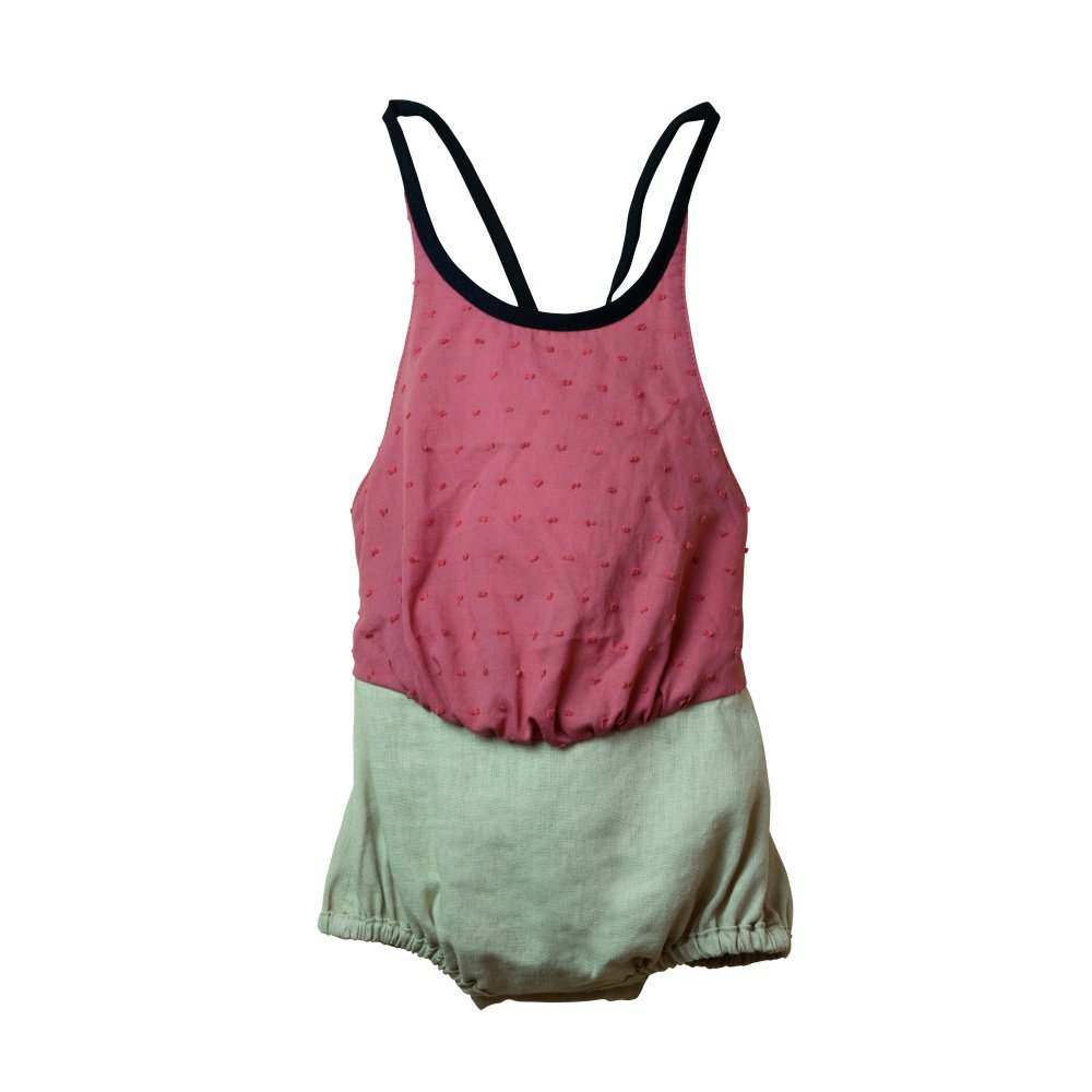 【SALE 30%OFF】Reversible pink Lurex bather-style romper suit img1