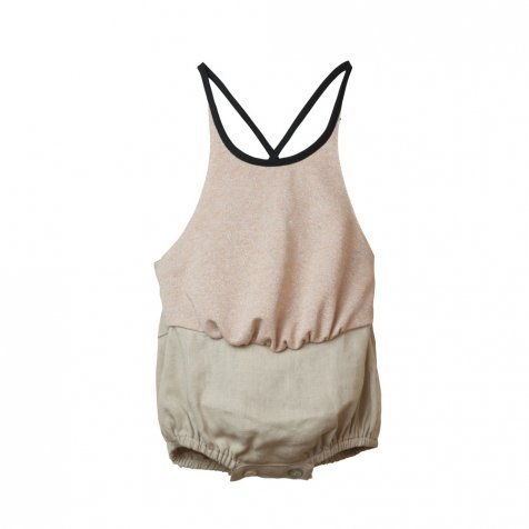 【SUMMER SALE 50%OFF】Reversible pink Lurex bather-style romper suit