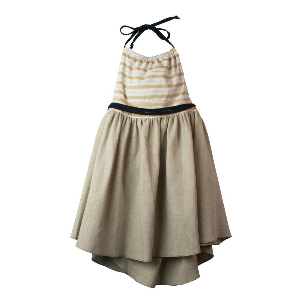 【SALE 30%OFF】Reversible beige dress with bib img