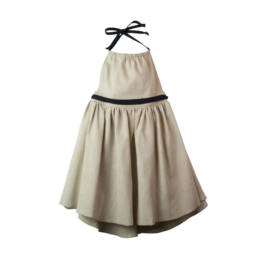 【SALE 30%OFF】Reversible beige dress with bib img1