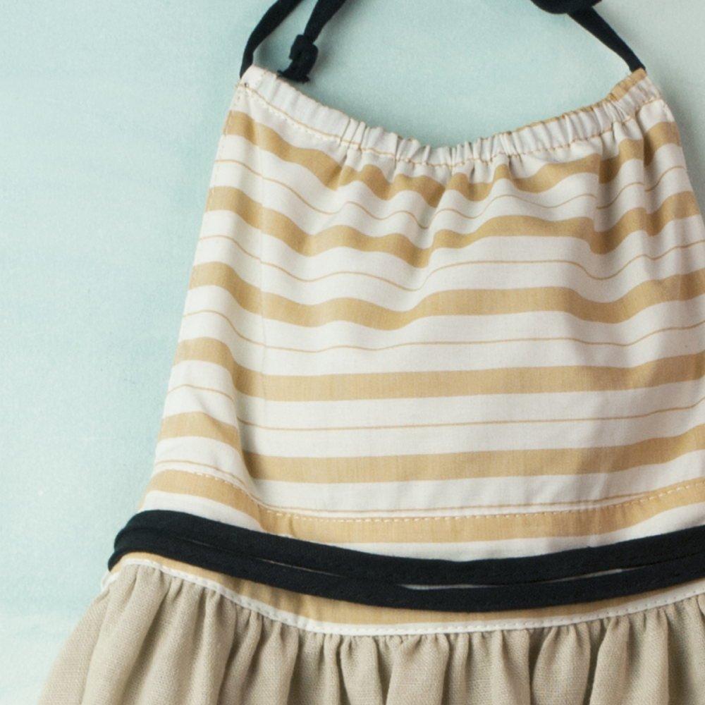 【SALE 30%OFF】Reversible beige dress with bib img2