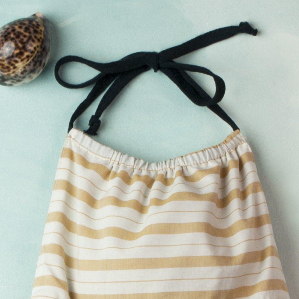 【SALE 30%OFF】Reversible beige dress with bib img4