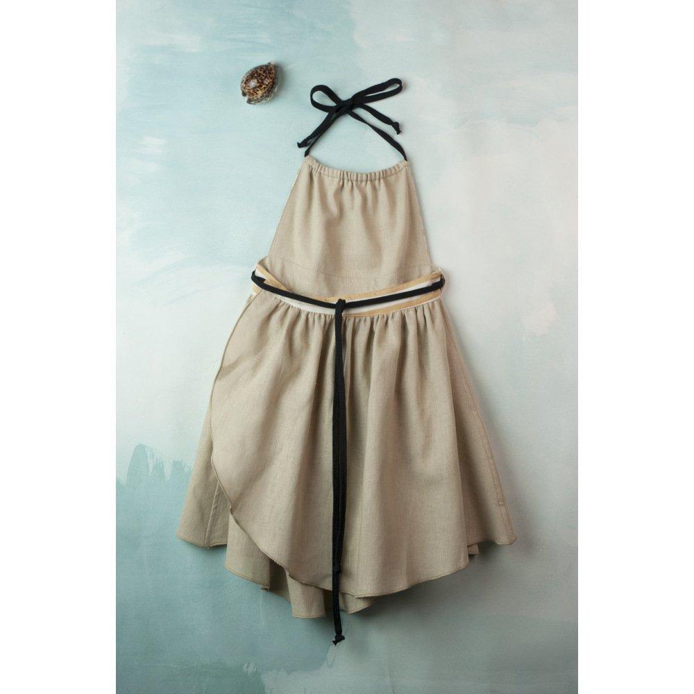 【SALE 30%OFF】Reversible beige dress with bib img6