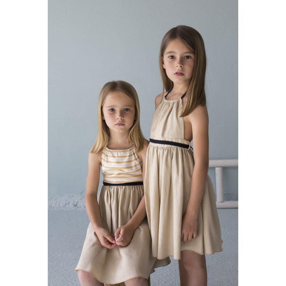 【SALE 30%OFF】Reversible beige dress with bib img7