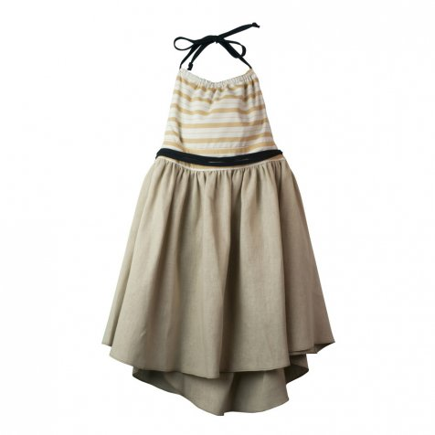 Reversible beige dress with bib