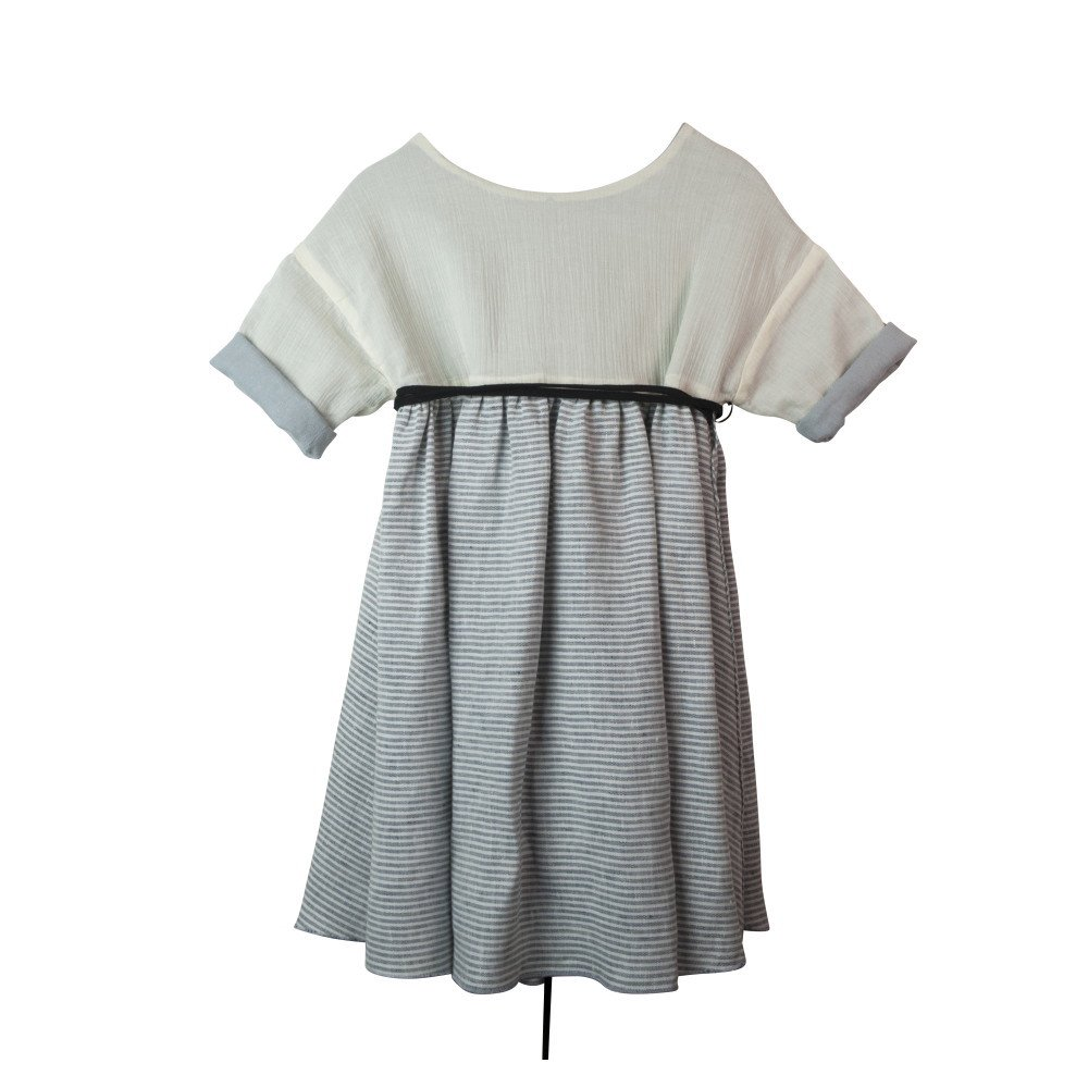 【SALE 30%OFF】Sailor stripes reversible dress with crossover back img1