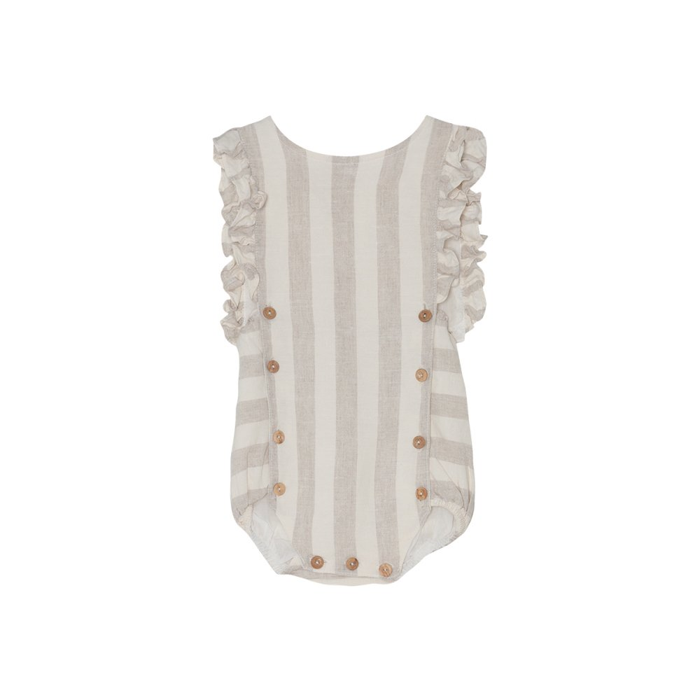 【SALE 30%OFF】Stripe Romper Ecru Stripes img