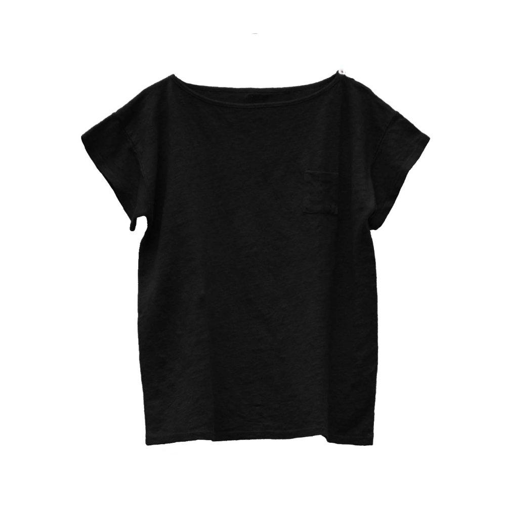 【SALE 30%OFF】EMILIN TEE 100% linen Black Sand img