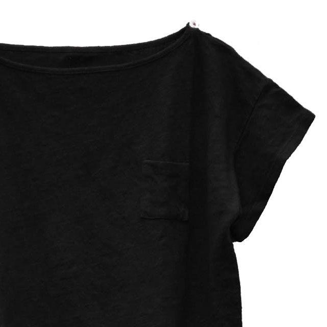 【SALE 30%OFF】EMILIN TEE 100% linen Black Sand img1