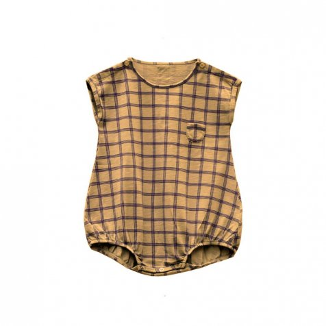 【SALE 30%OFF】PEPINO CHECK romper 100% cotton Melon