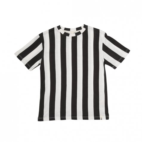 【WINTER SALE 40%OFF】LOOSE TEE SS STRIPES BLACK / WHITE