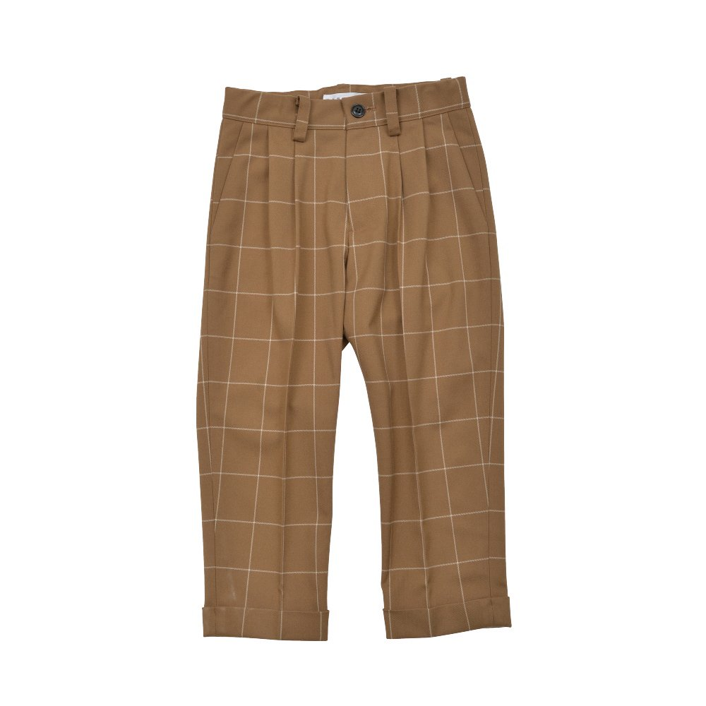 【30%OFF→40%OFF】Suit Pants camel / white plaid img