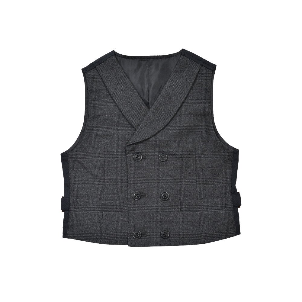Double-Breasted Vest black / grey plaid img