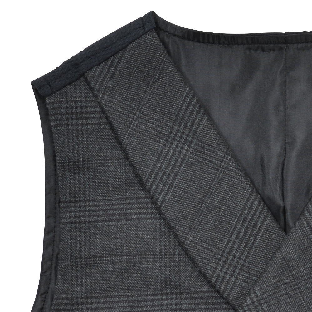 Double-Breasted Vest black / grey plaid img2