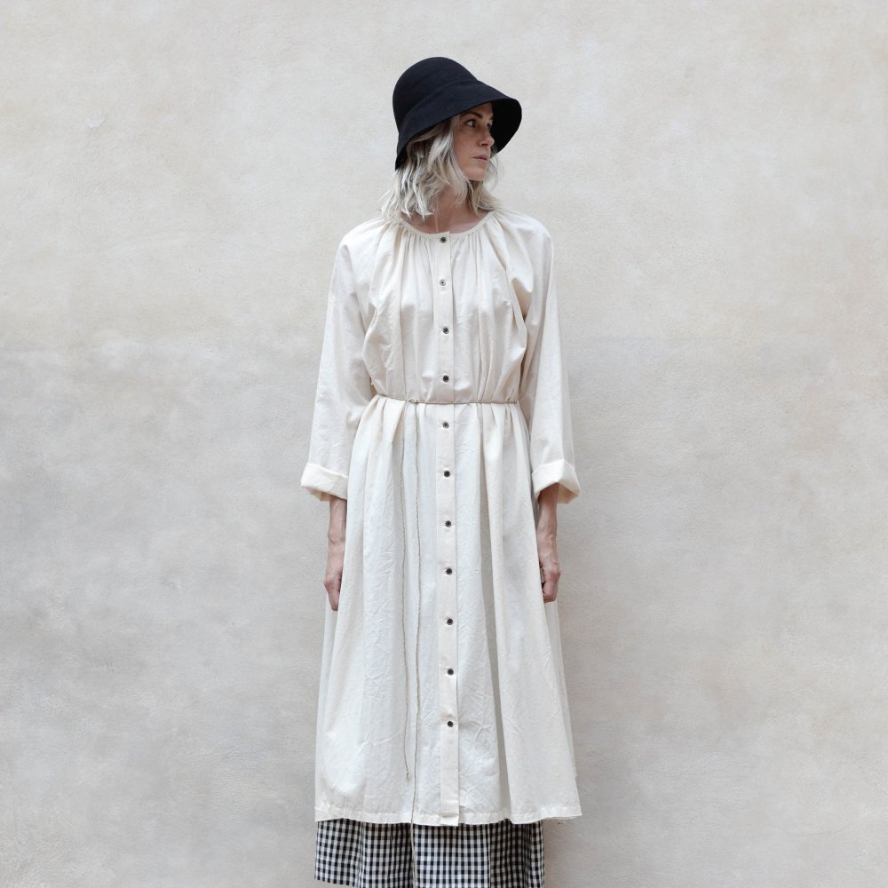 【WINTER SALE 20%OFF】Crinkled Sack Dress Cream Women img