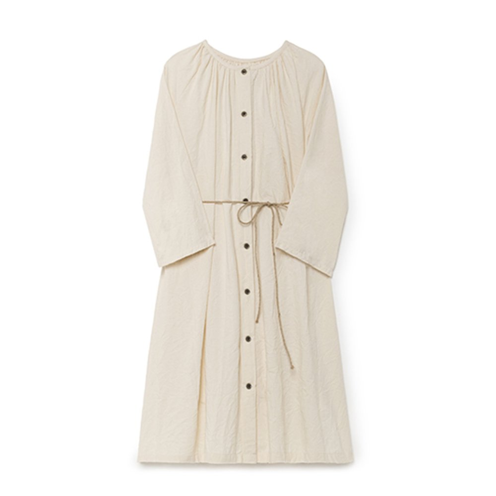 Crinkled Sack Dress Cream Women img3