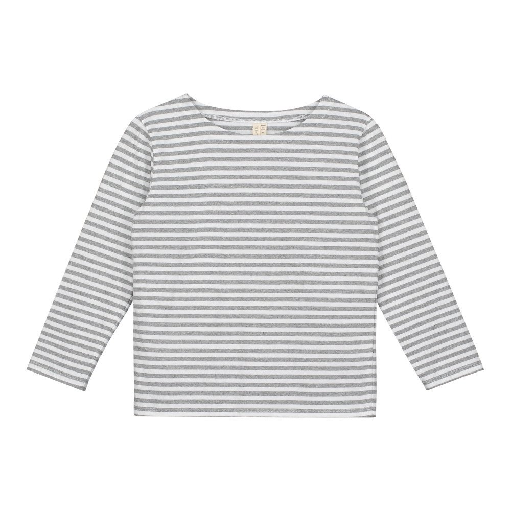 L/S Striped Tee Grey Melange / White Stripes img