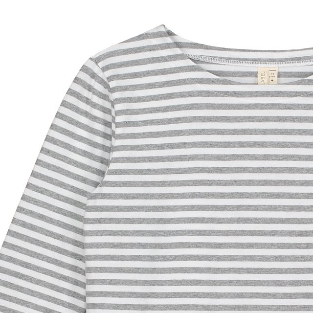 L/S Striped Tee Grey Melange / White Stripes img1