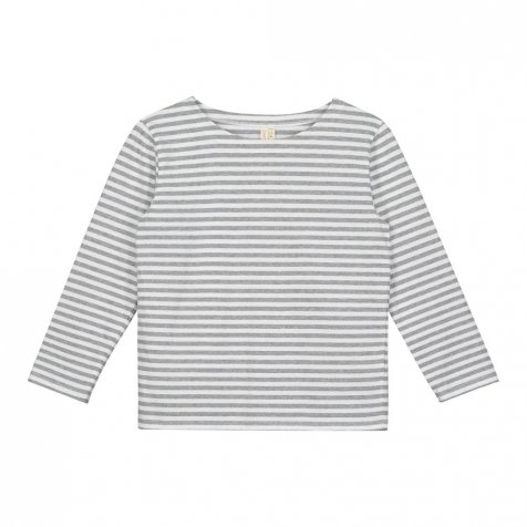 L/S Striped Tee Grey Melange / White Stripes