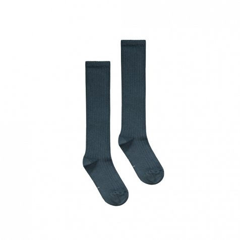 Long Ribbed Socks Blue Grey
