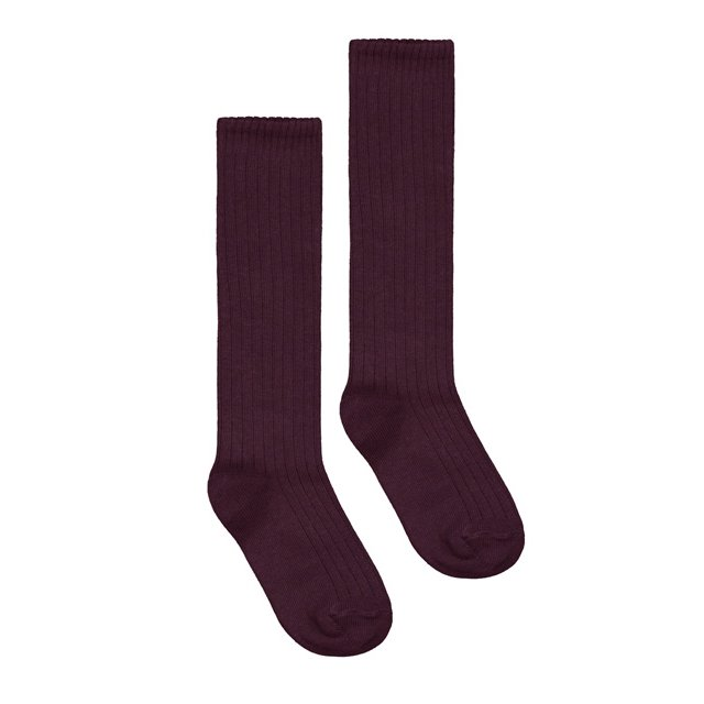 Long Ribbed Socks Plum img1