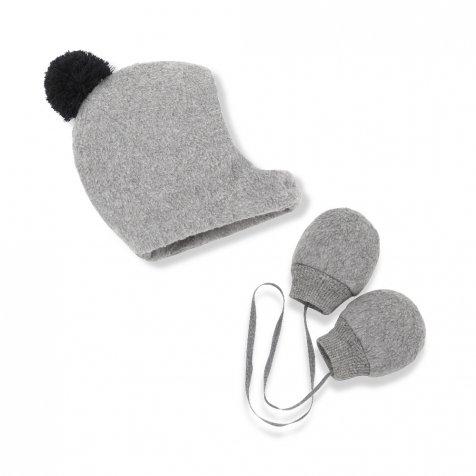 LINUS bonnet & mittens light grey