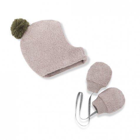 LINUS bonnet & mittens rose