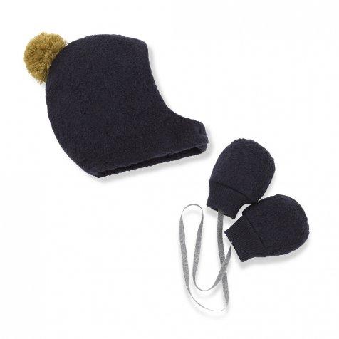 LINUS bonnet & mittens blue