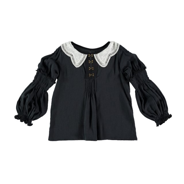 【WINTER SALE 20%OFF】Blouse GRECO Dark Grey Cotton img