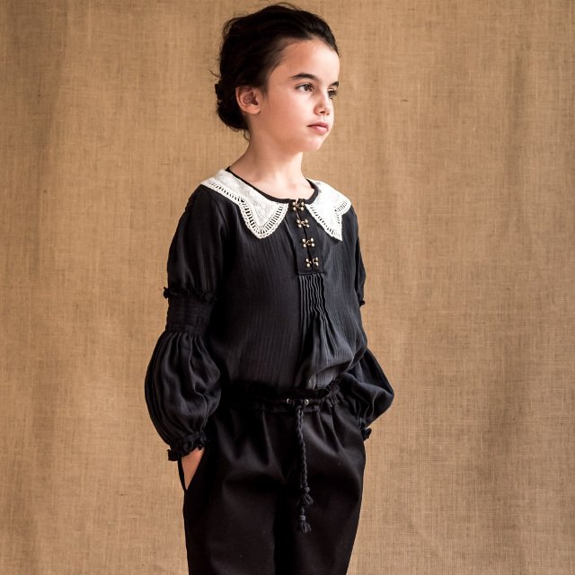 【WINTER SALE 20%OFF】Blouse GRECO Dark Grey Cotton img1