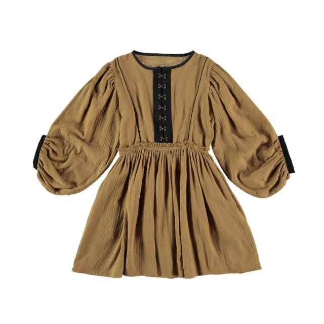 【WINTER SALE 20%OFF】Dress VERMEER Old Gold Cotton img
