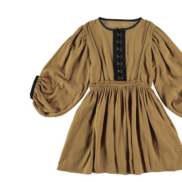 【WINTER SALE 20%OFF】Dress VERMEER Old Gold Cotton img5