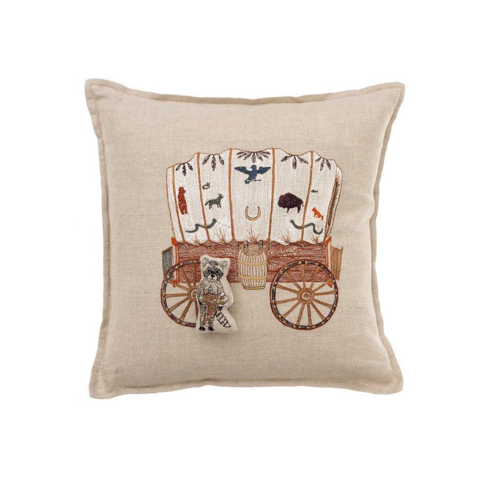 Raccoon Saddle Maker Wagon Pocket Pillow img