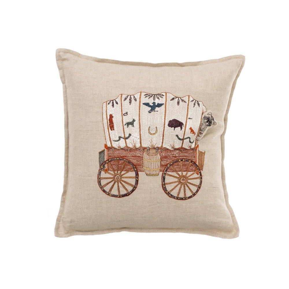 Raccoon Saddle Maker Wagon Pocket Pillow img1