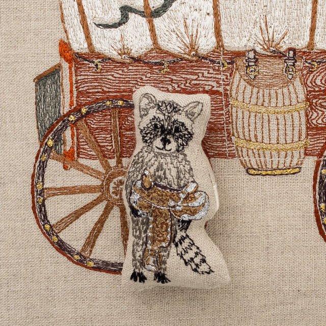 Raccoon Saddle Maker Wagon Pocket Pillow img4