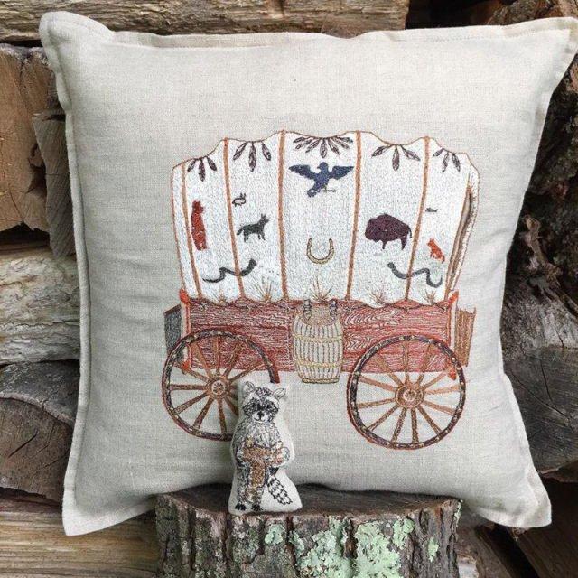 Raccoon Saddle Maker Wagon Pocket Pillow img5
