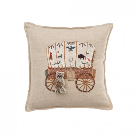 Raccoon Saddle Maker Wagon Pocket Pillow
