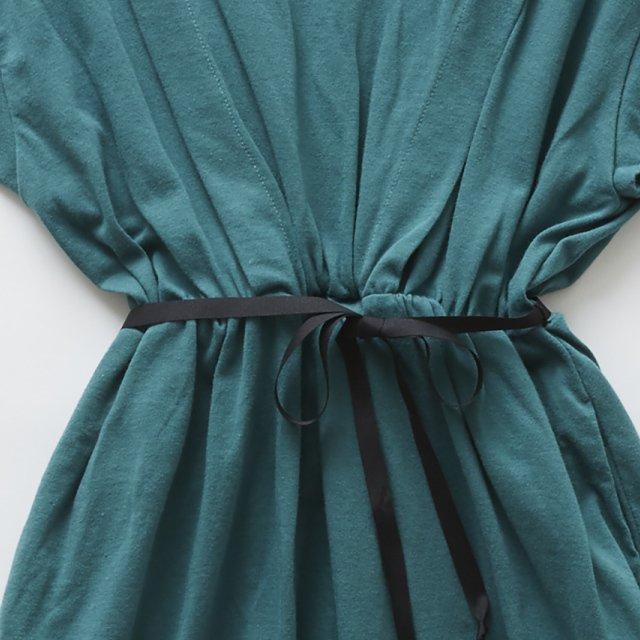 waist gather dress green img2
